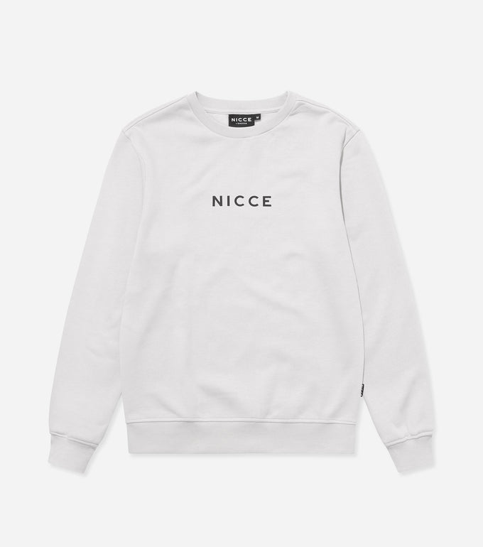 This cloud grey sweatshirt is made from a soft cotton mix and features the classic NICCE logo across the front. A casual, comfortable fit with a round neckline and long sleeves makes this sweatshirt a great layering piece, essential for every wardrobe.