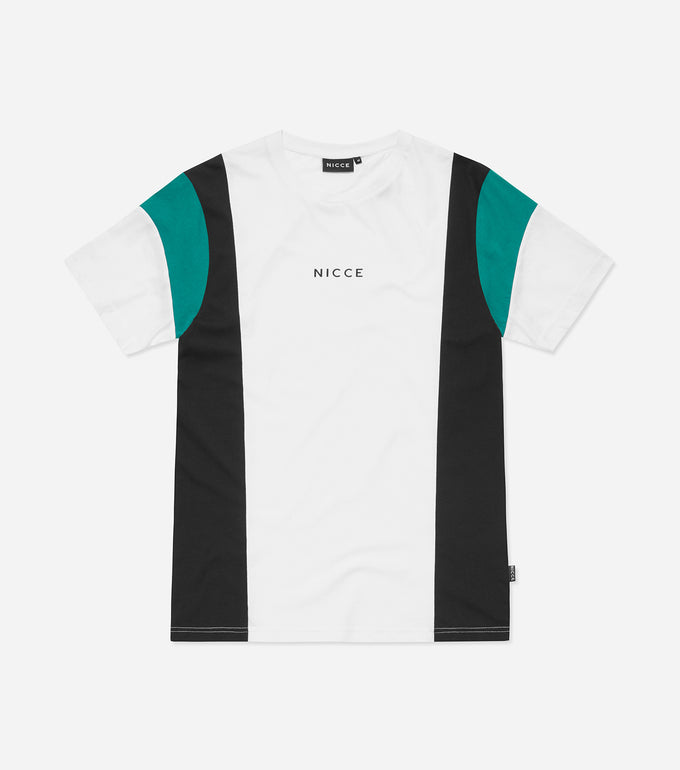 Homewood Crew Neck, short sleeve t-shirt in white. Features cut and sew panels, colour block design in coal, green and white, centre chest printed logo. Wear with joggers.