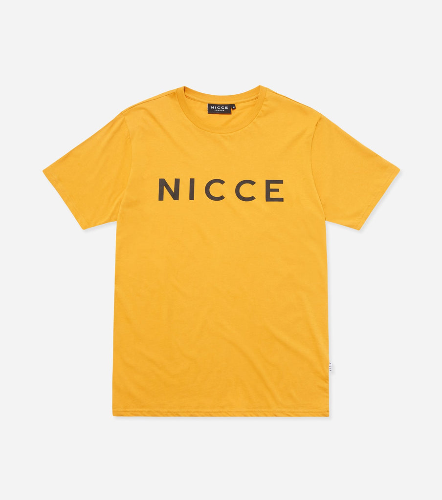 This golden yellow top features the large classic NICCE London logo across the chest. A short-sleeved t-shirt is a style staple for any wardrobe and can be paired with jeans or joggers for casual comfort