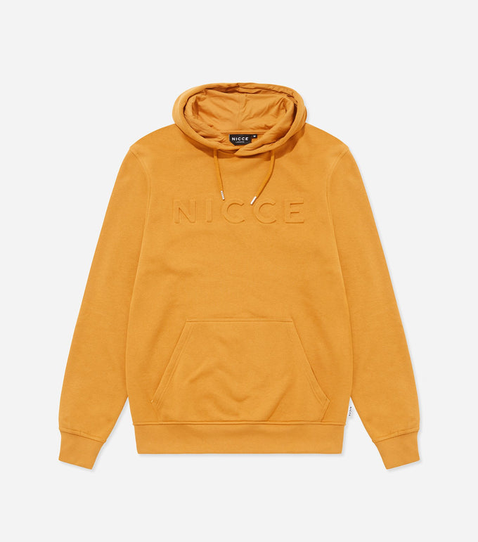 Embossed hood in golden yellow. Features hood with drawstrings, embossed chest logo with elasticated cuff and waistband. Pair with denim.