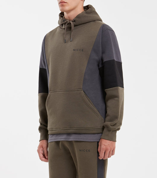 Union overhead hood in Olive. Features multi-colour panelling in olive, coal and back, hood, printed logo, elasticated cuffs and waistband. Pair with joggers.
