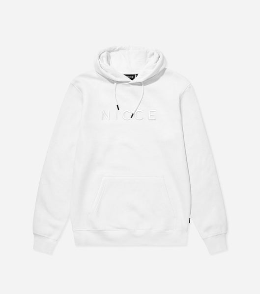 Mercury overhead hood in white. Features raised embroidered tonal chest logo, hood drawstrings, elasticated cuffs and waistband. Pair with joggers.