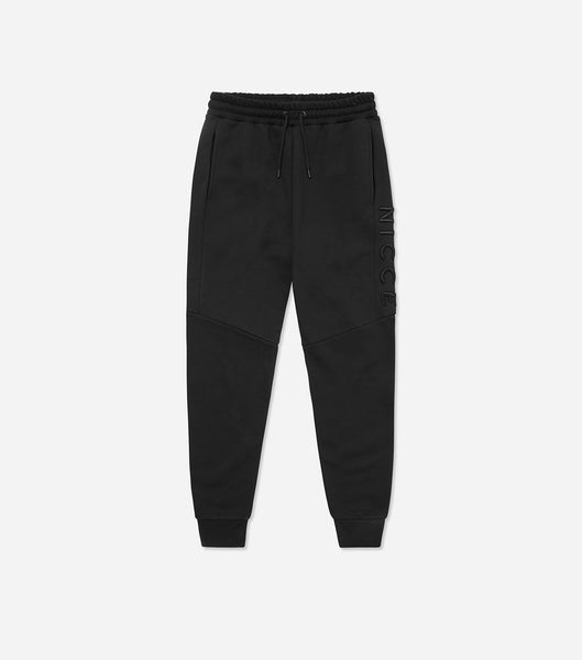 Mercury jogger in black. Features skinny fit, thigh raised embroidery branding, two pockets, elasticated waist with drawcord and elasticated ankles. Pair with hood.