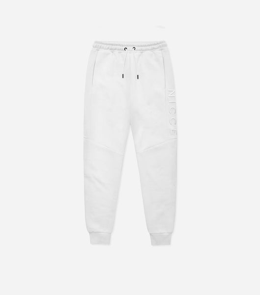 Mercury jogger in white. Features skinny fit, thigh raised embroidery branding, two pockets, elasticated waist with drawcord and elasticated ankles. Pair with hood.