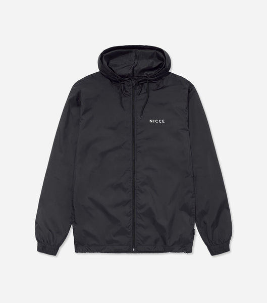 Windbreaker in black. Features light weight fabric, full zip, overhead hood, chest branding, two side entry pockets. Pair with joggers.