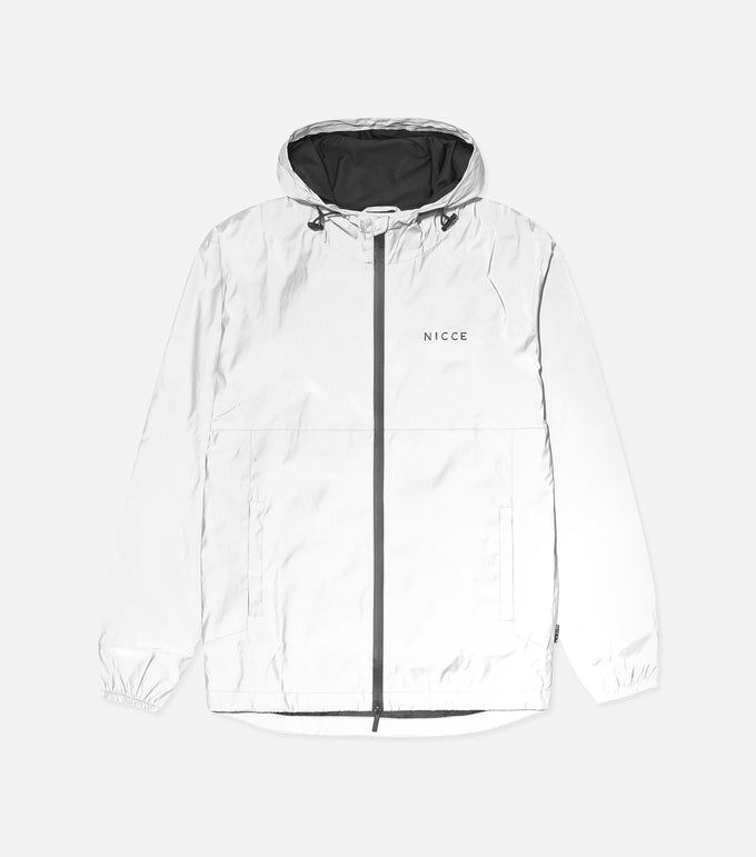 Titan jacket in reflective. Features fully reflective material, adjsutable hem, two front pockets, aqua guard zips, hood, front and back printed branding. Pair with denim.