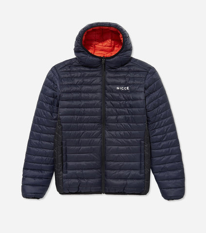 Inverti reversible jacket in deep navy and orange. Features fully reversible design, quilted body both sides, hood, full zip front, printed logo, and side entry pockets