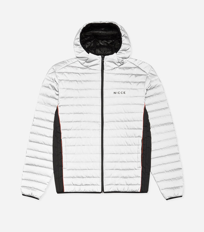 Chromo jacket in reflective. Features reflective quilted fabric, full zip, two colour paneling, hood, printed chest branding and hood. Pair with denim.