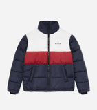 Deca jacket Features quilted fabric, triple colour paneling in navy, red and white, stand up neckline, front pocket, full zip, elasticated cuffs and printed branding. Pair with joggers.