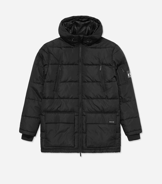 Fino parka jacket in black. Features quilted fabric design, full zip through, hood, four front pockets, arm pocket, contrast lining and arm badge branding.