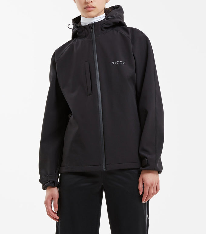 Nio jacket in black. Features short length design with dropped back, front zip enclosure, soft shell fleece lined fabric, hood with three front pockets and reflective branding. Pair with denim.