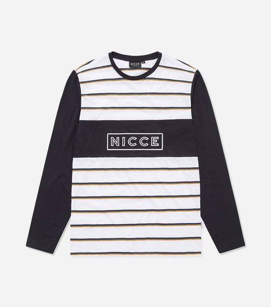 Score long sleeve t-shirt in multi stripe. Features triple panelling, crew neck, long sleeves, embroidered logo, contrasting sleeves and stripe body. Pair with joggers.