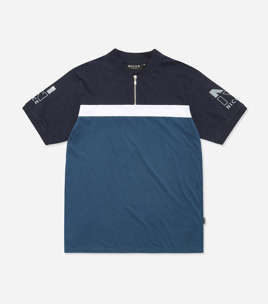 Campus short sleeve polo in majorca blue. Features quarter zip, panel bomber collar, sleeve print branding, three colour panelling. Pair with Jeans.
