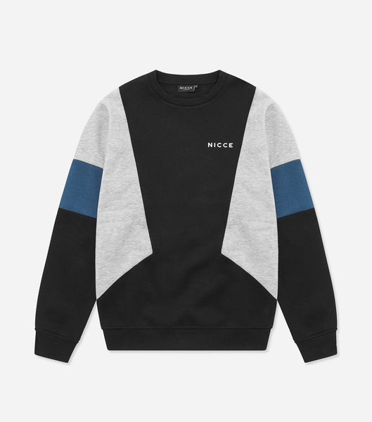 Union sweat. Features crew neck, three colour pannelled body, chest branding, elasticated waistband and cuffs. Pair with joggers.