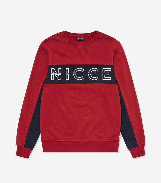 Colt sweatshirt in merlot. Features crew neck, long sleeves, two colour paneling in merlot and deep navy and raised rubberised logo. Pair with denim