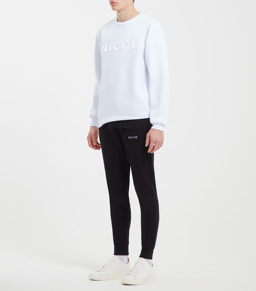 Hassium sweat in white. Featuring crew neck, long sleeves and embossed logo with reflective printed logo.