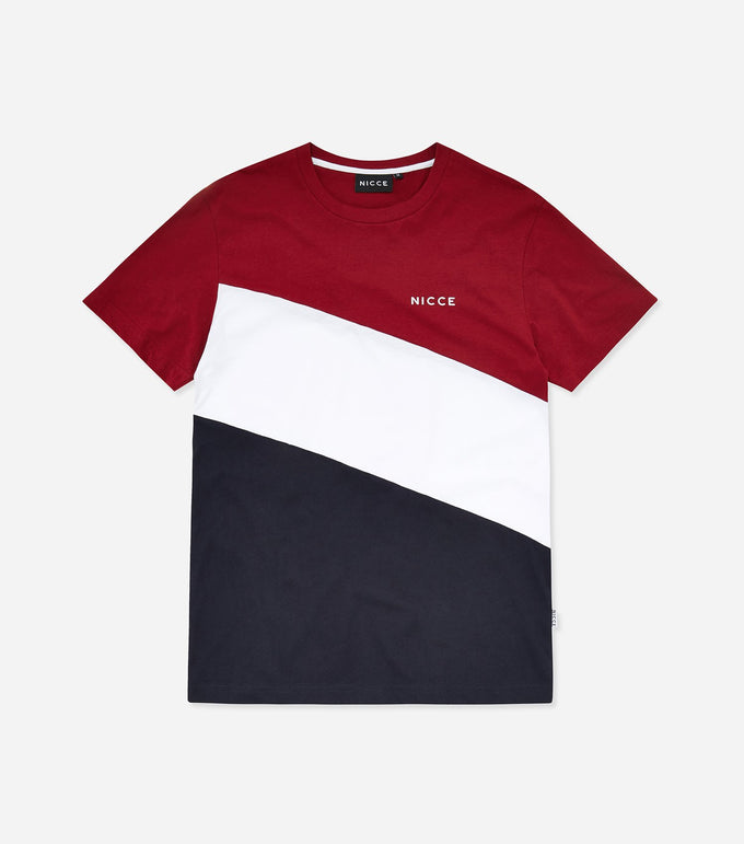 Triad t-shirt. Features triple panel design in merlot, white and navy, chest printed logo, shorts sleeves and crew neck. Pair with joggers.