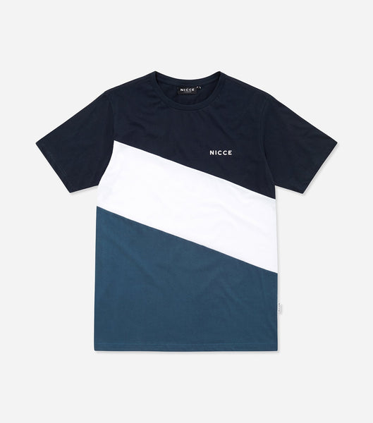 Triad t-shirt in majorca blue. Features triple panel design,chest print, shorts sleeves and crew neck. Pair with joggers.
