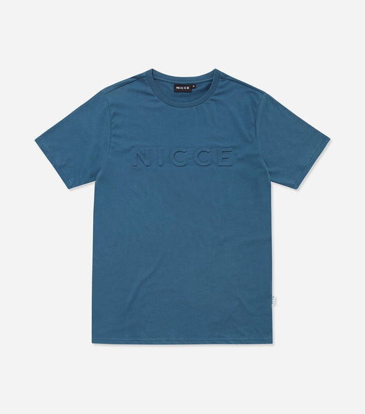 Emboss T-shirt in blue. Features embossed logo, short sleeves, crew neck and rolled hem. Pair with denim.