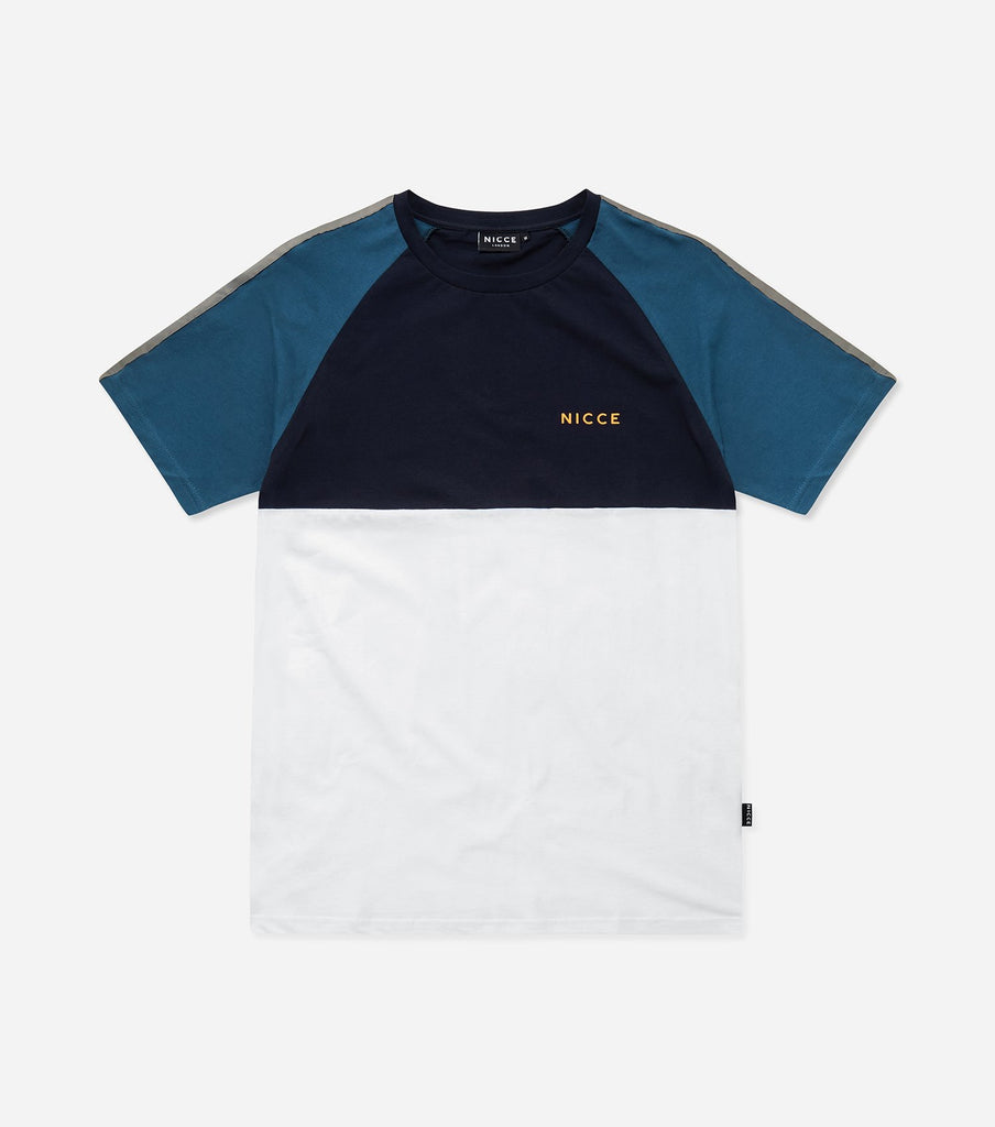 Bronco t-shirt in majorca blue. Features curve hem, colour pannelling, crew neck, short sleeves, tape sleeve detailing and printed logo. Pair with denim.