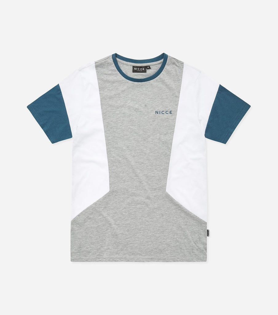 Union t-shirt in grey. Features crew neck, short sleeves, three colour panelling, printed logo. Pair with joggers.