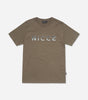 Split logo t-shirt in Olive. Features, crew neck, short sleeves,raised rubberised chest logo branding. Pair with denim.