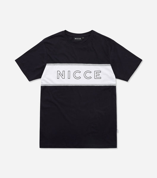 NICCE chest logo short sleeve t-shirt in navy. Features crew neck, contrasting stripe, short sleeves and NICCE chest logo. Pair with joggers