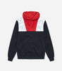 Conti hood in navy. Features large shoulder branding, overhead hood, drawcord, a colour block design in navy, red and white; with ribbed cuffs and hem. Pair with joggers.