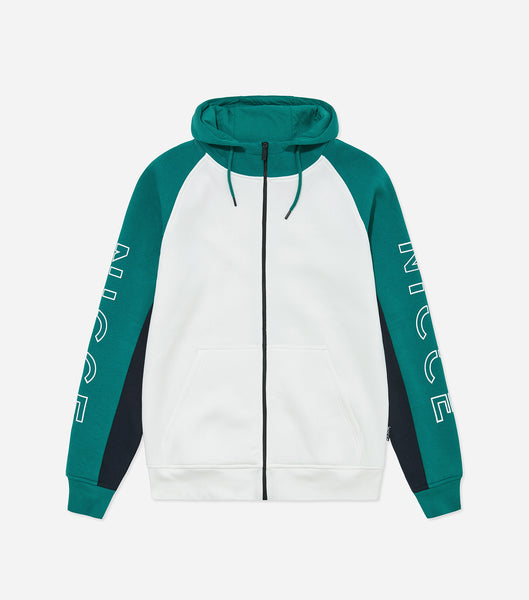 Lusten zip thru hood in emerald. Features funnel neck, hood, colour block panelling, large arm branding, front pouch, ribbed hem and cuffs. Pair with matching joggers.