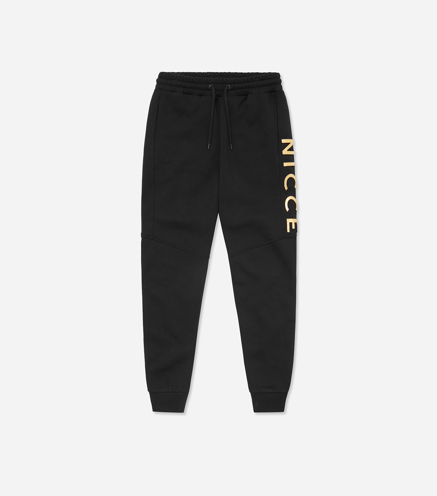Saint joggers in black. Skinny fit jogger with embossed logo in a gold foil print.  Pair with hood.