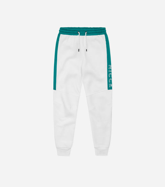 Lusten joggers in off white. Featuring skinny fit design, large thigh branding, two side pockets, ribbed cuffs and elasticated waistband. Pair with matching lusten hood.