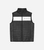 Monte gilet in black. Designed as a layering piece with extra padding to keep you warm and insulated. Features quilted fabric, black and reflective design, two side pockets, high neck, full zip, ripstop fabric, reflective panel with chest and back logo. Pair with joggers.