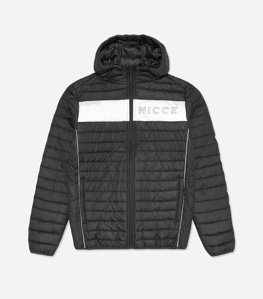 Jackson quilted jacket in black. Features quilted design in a ripstop farbric, hood, full zip, two front pockets and reflective paneling with NICCE chest and back branding. Pair with denim.