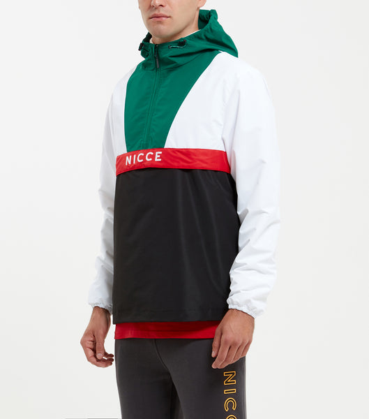 Sommet cagoule in white. Features multicolour panelling in green, white, red and black, quarter zip front, nicce branding on chest + hood, adjustable hem and ribbed cuffs. Pair with joggers.