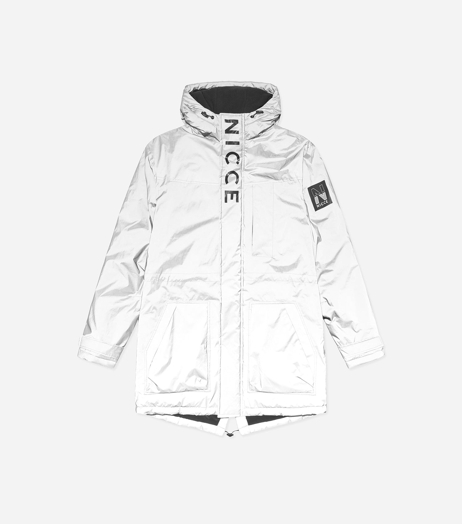 Reflecta parka made in a reflective material. Features hood, two front zip pocket, front printed branding, full hidden zip and adjustable cuffs. Pair with denim or joggers.
