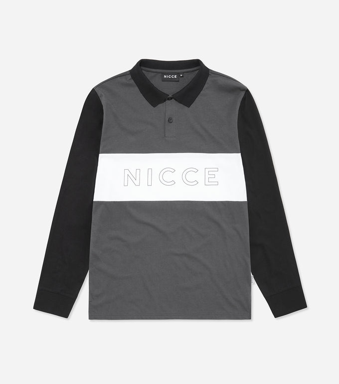 Ober polo shirt in coal. Features triple panel, short sleeves keyline logo, flat rib collar, button up neck and printed logo. Pair with joggers