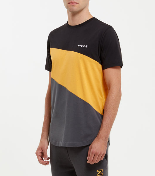 Canyon Crew Neck, short sleeve t-shirt in black. Features triple panel t-shirt in black, yellow and coal, printed left chest logo. Wear with jeans.