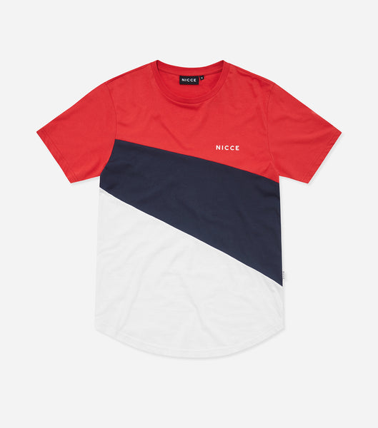 Canyon Crew Neck, short sleeve t-shirt in red. Features printed logo, triple paneling in red, blue and white. Pair with joggers.