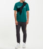 Boulder t-shirt in emerald. Featuring Crew Neck, short sleeves, large split chest logo. Pair with denim or joggers.