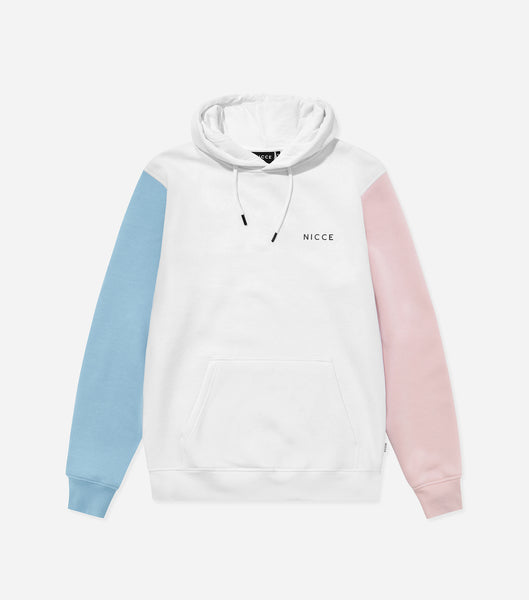 Neos hood in white, pink and blue.. Featuring contrasting coloured sleeves, hood, front pouch and printed logo. Pair with joggers or shorts.