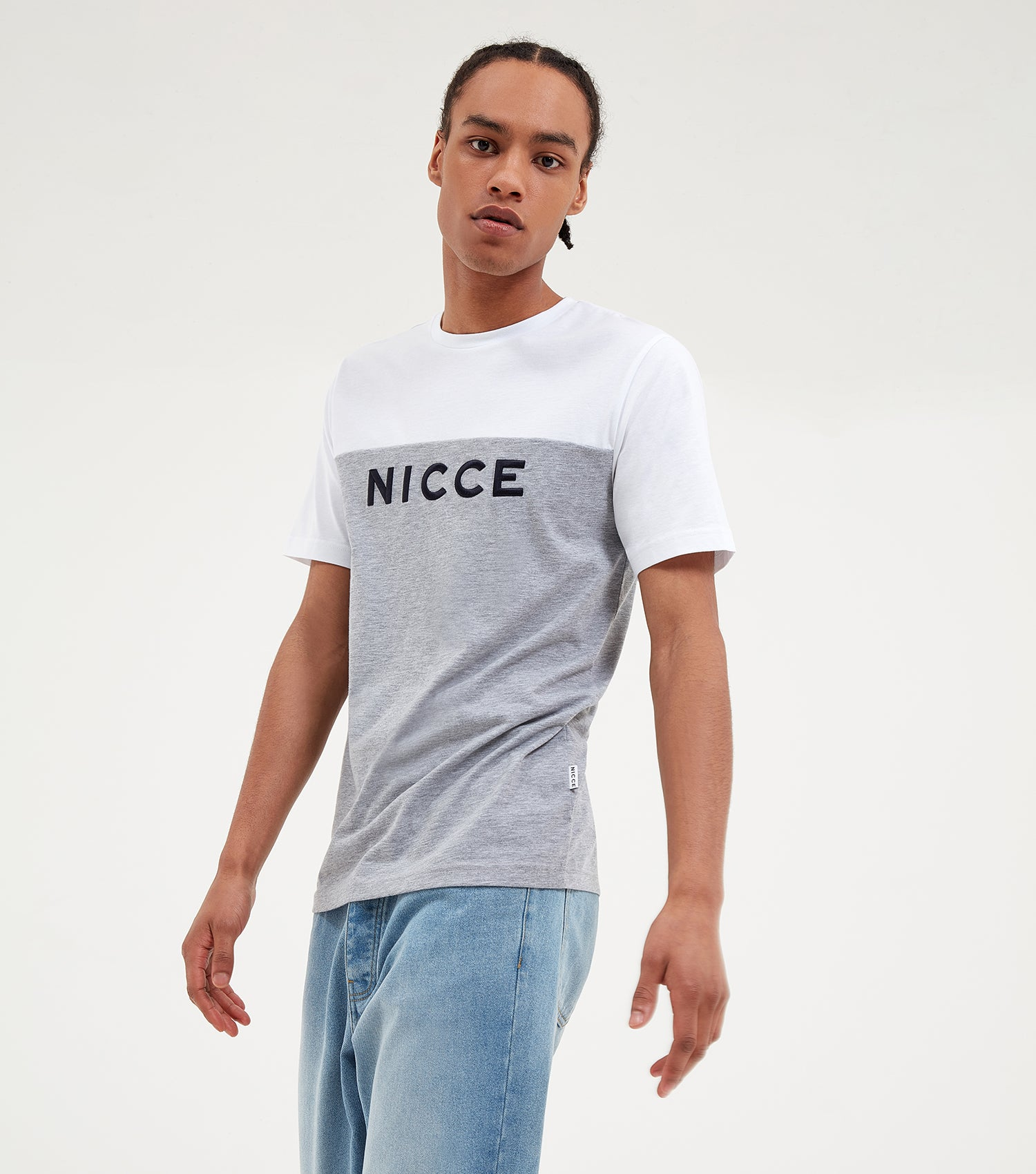 NICCE Mens Neptune T-Shirt | Light Grey Marl/White, T-Shirts