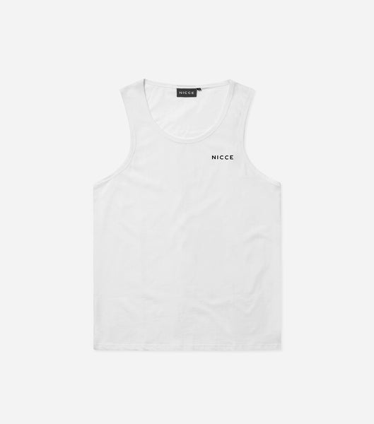Chest logo vest in white. Features crew neck curved hem and printed chest logo. Pair with shorts or joggers.