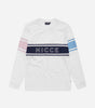 Panel long sleeve t-shirt in white. Featuring contrast stripe design, printed NICCE chest logo, contrasting arm stripes in pink and blue and navy chest stripe. Pair with joggers or shorts.  Details: White Crew neck Long sleeves Printed logo 100% Cotton jersey  #NICCE