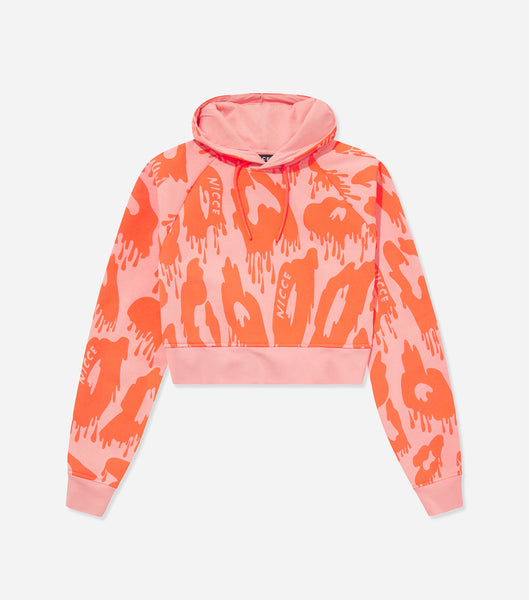 NICCE Womens Mime Crop Hood | Candlelight Peach/ Fiery Coral, Hoodies