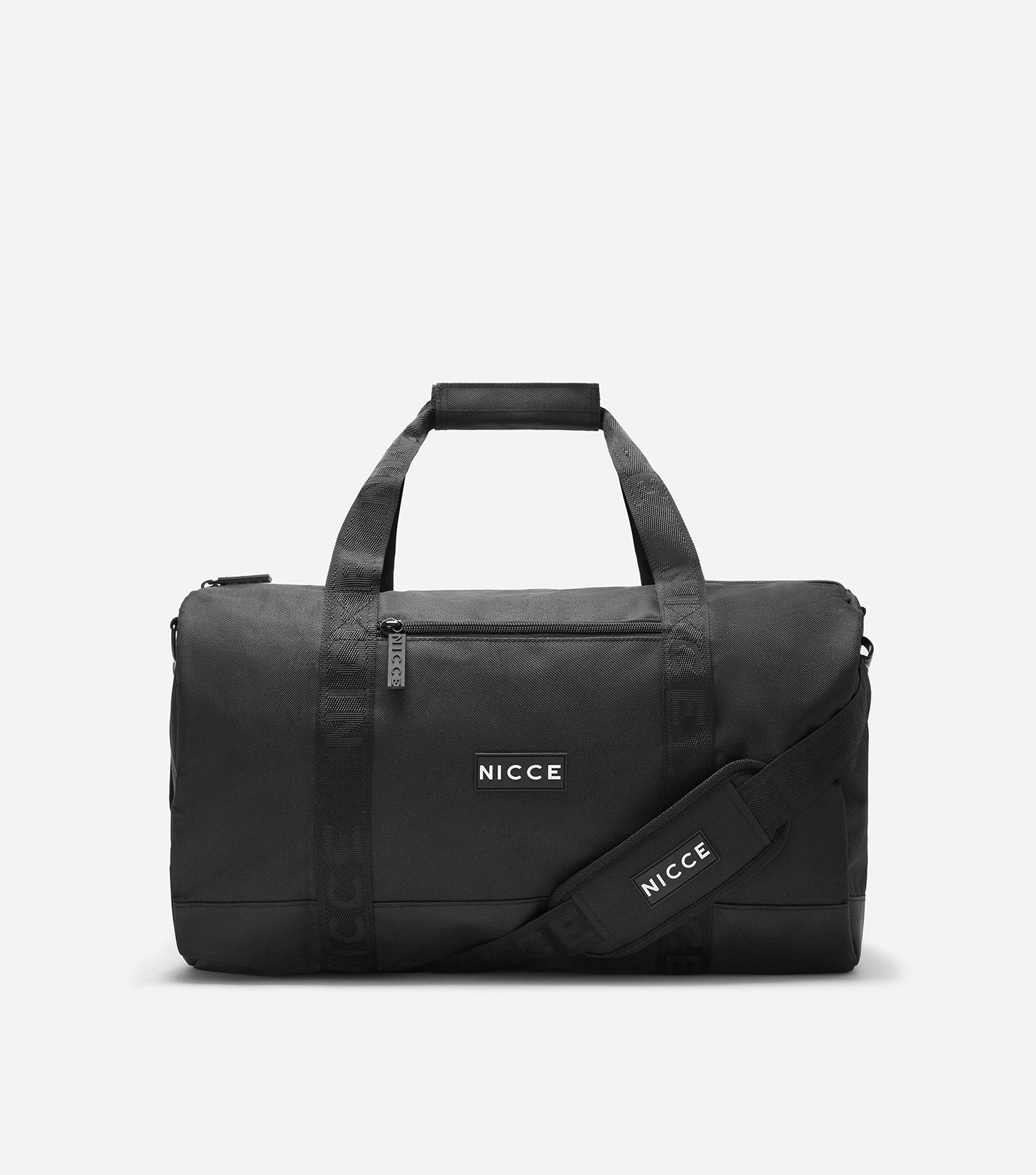 Black barrel bag featuring a front zipped pocket, NICCE badge logo, repeated logo lining, grab handle and detachable shoulder straps. Great for the weekend trips or the gym.