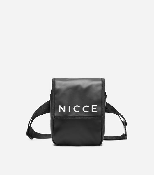 NICCE teah cross body/belt bag in black. Features NICCE ink print logo, adjustable branded strap to be worn on the waist of as a cross body.