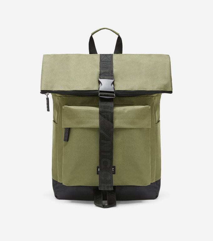 600D roll top backpack in khaki featuring a front zipped pocket, NICCE woven in label, padded adjustable straps, and a roll top with zip and clasp clure.