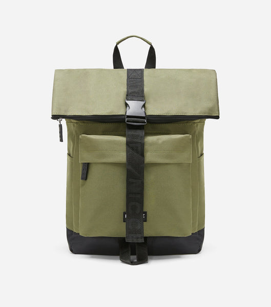 600D roll top backpack in khaki featuring a front zipped pocket, NICCE woven in label, padded adjustable straps, and a roll top with zip and clasp closure.