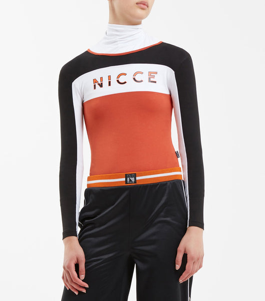 Combat bodycon bodysuit in burnt orange. Featuring long sleeves, crew neck, triple panel detailing, two colour keyline flat printed logo and zip back opening.