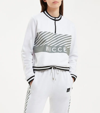 Illusion zip sweat in white. Features cropped fit with half zip, illusion stripe print logo across the chest, two colour stripe waistband, cuff and neck finishing. Pair with NICCE Illusion joggers.